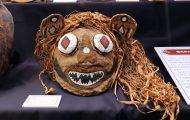 タパ(樹皮布)製のジャガーを象った仮面