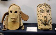 さまざまな仮面。神話上のキャラクターなども象る